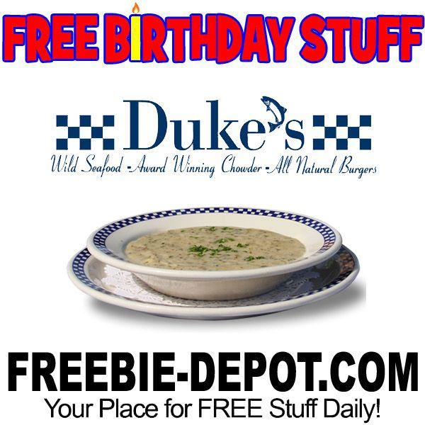 ►► BIRTHDAY FREEBIE - Duke's Chowderhouse ►► #BDay, #Birthday, #BirthdayFreebie, #BirthdayGift, #FreeBirthdayStuff, #FrugalFind, #FrugalLiving, #HappyBirthday ►► Freebie Depot