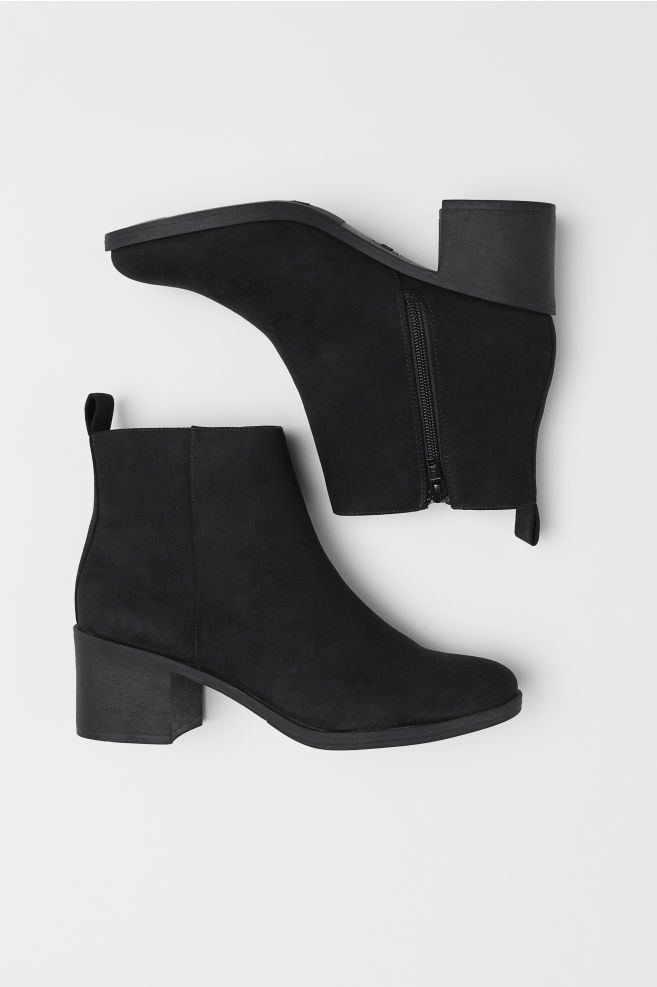 Ankle Boots with Zip - Black - Ladies