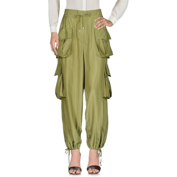 Dsquared2 Casual Trouser (8.927.905 IDR) ❤ liked on Polyvore featuring pants, military green, army green pants, cargo pants, olive zipper pants, olive green pants and military green pants