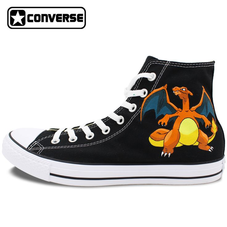 Boys Girls Converse All Star Hand Painted Shoes Women Men Shoes Pokemon Go Charizard Design High Top Canvas Sneakers #Affiliate