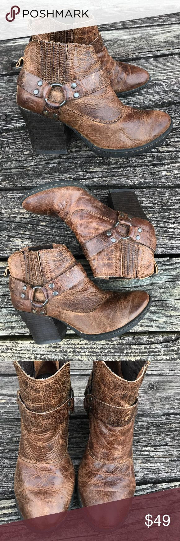 BORN Leather distressed sz 6.5 Like New Moto boot Worn twice. Size 6 1/2. Born leather distressed Moto boot. Memory foam sole. Born Shoes Ankle Boots & Booties