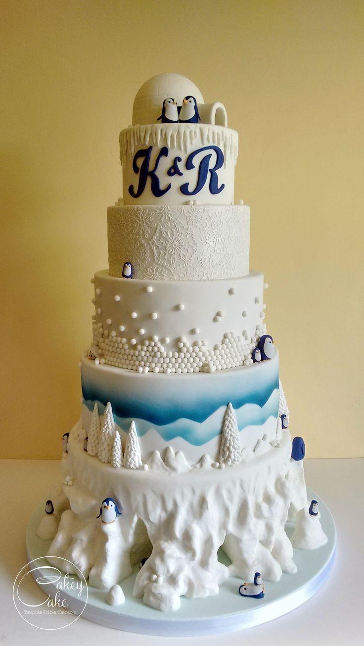 Penguin snowscape wedding cake by #cakeycake White and blue cake. Mountains.