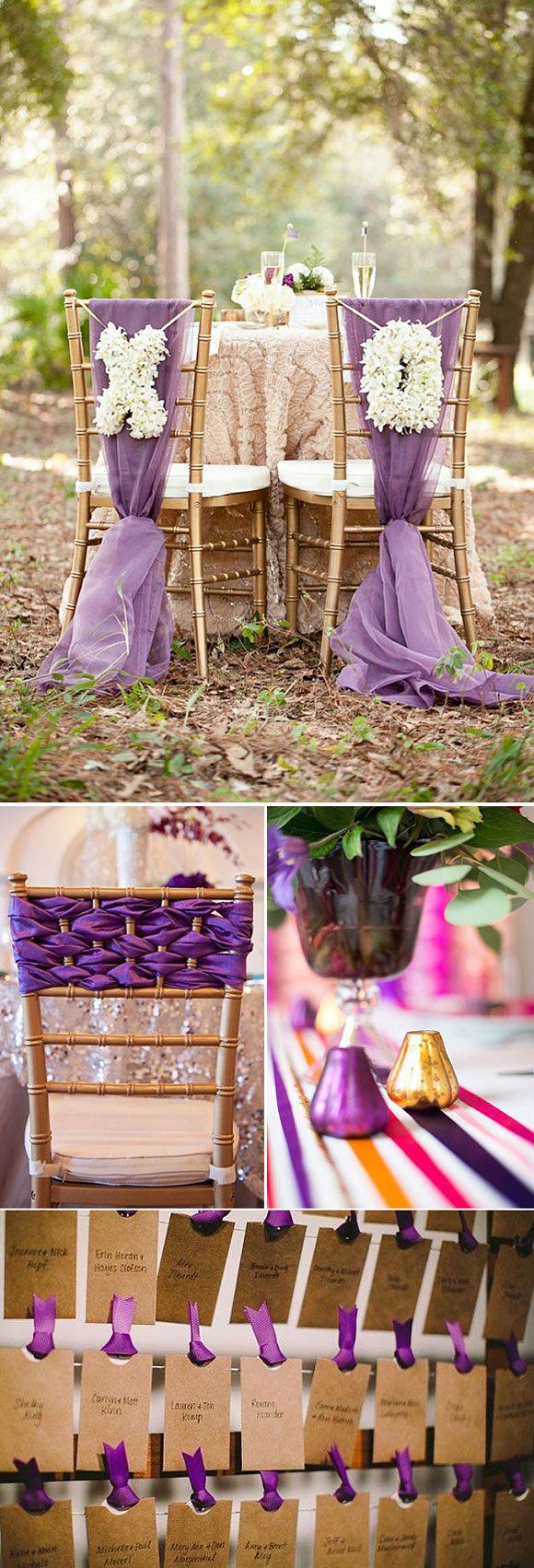 Elige un color y hazlo el predominante en tu boda. Mira esta boda en violeta: