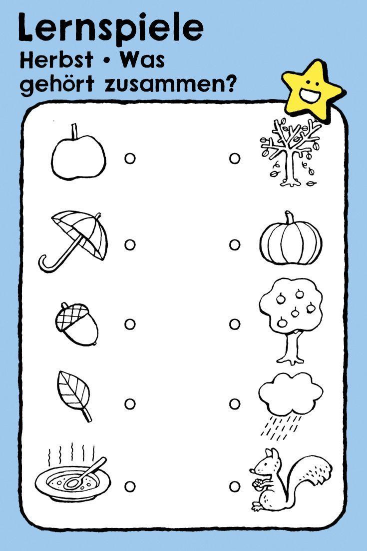 Herbst Was Gehort Zusammen Wahrnehmungsubung Kiddimalseite Educatieve Spellen Kinderen Kleurplaten