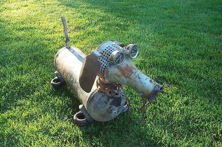 Scrap Metal Yard Art Animals | Doxie wiener dog garden art made from scrap metal. Ivy ... | Yard Art