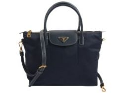 Prada Tessuto Nylon With Leather Trim Tote Dark Blue