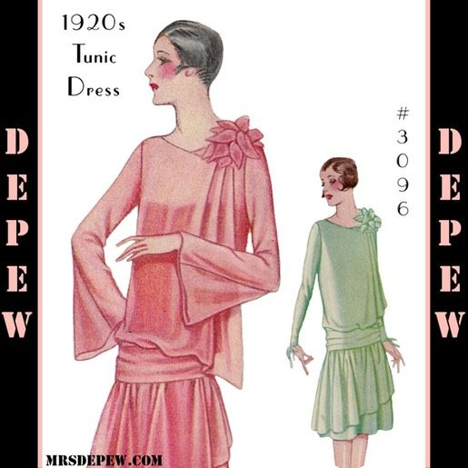 1920s Dress with Drapery #3096 flapper dress vintage sewing pattern 38 bust from MrsDepew.com.