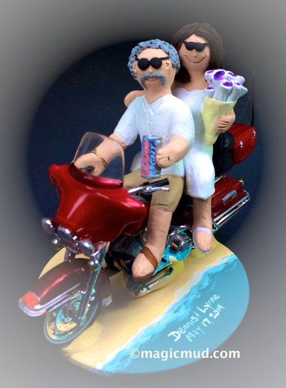 Motorcycle on the Beach Wedding Cake Topper    We have pictured Harley motorcycle caketoppers.... but any style of motorcycle can be incorporated,,,a dirt bike, road bike, sport bike, Honda, Suzuki,Yamaha, Kawasaki, Ducati, BMW, whatever you want....    $235   #magicmud   1 800 231 9814   www.magicmud.com