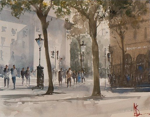 Alan Somers-College Green,Spring #dublin #art #painting #watercolour #citystreets #fineart  #trinitycollege