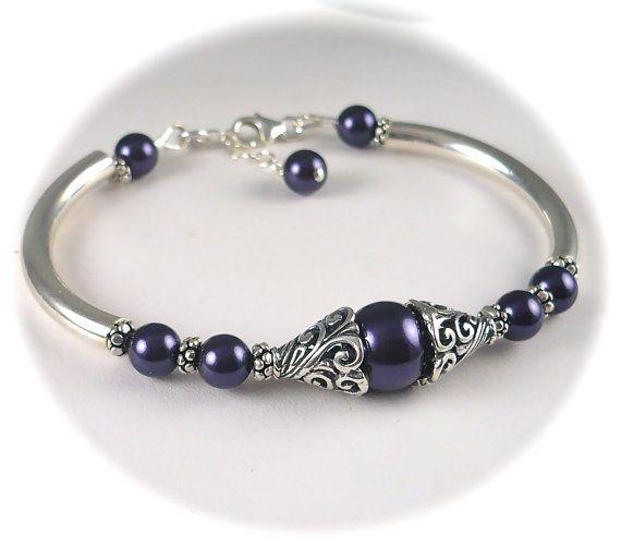 Bali Purple Pearl Bracelet, Purple Bracelet, Bangle, Antiqued Filigree Sterling Silver Bridesmaids, Bridal, Wedding Jewelry