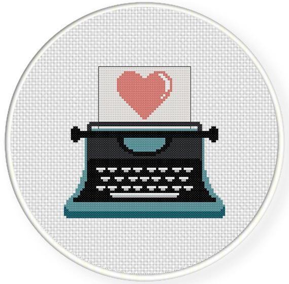 (10) Name: 'Embroidery : Cute Typewriter Cross Stitch Pattern