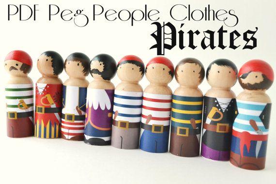 PDF Printable Peg People Pirate Clothes by PlentyofPaprika on Etsy