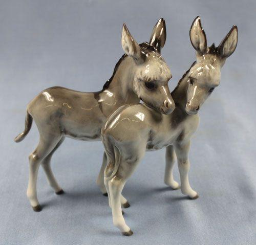 Esel Tierfigur porzellanfigur Hutschenreuther Eselfigur porzellan figur eselpaar