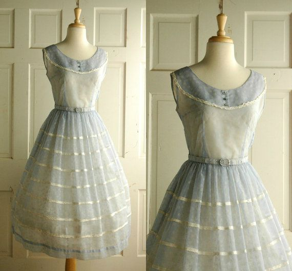 50s Easter Blue Dress / Sheer Vintage Sunday Dress - seriously, I need it to be 1955 again.