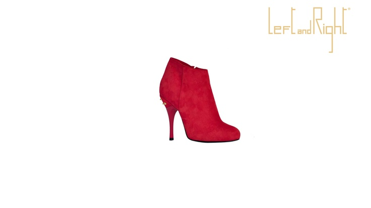 Ankle boot Suede red, 10 cm heel, leather sole with rubber injection on the plant, brass studs.
