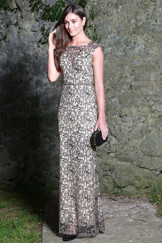 Kylie Black and Gold Embellished Maxi Dress