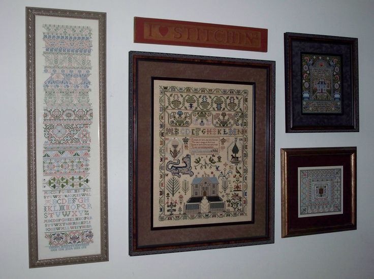 Here she is as she is displayed in my home. Next to her is Isabel Redie from Scarlet Letter, and two designs from Treasures magazine by Sandy Orton. They are the  American Sampler and Spanish sampler. I use silks on all of my work and a tekobari laying tool to keep my stitches crisp and neat.  Hope you enjoy the photos.  In Stitches,  Cheryl