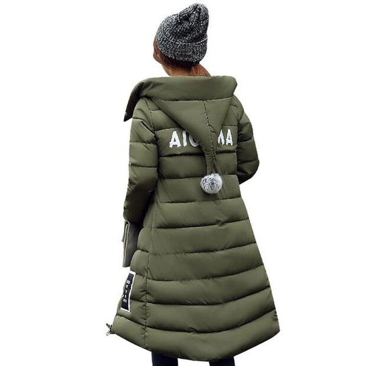 Plus Size Women Thick Warm Hooded Long Down Cotton-padded Jacket
