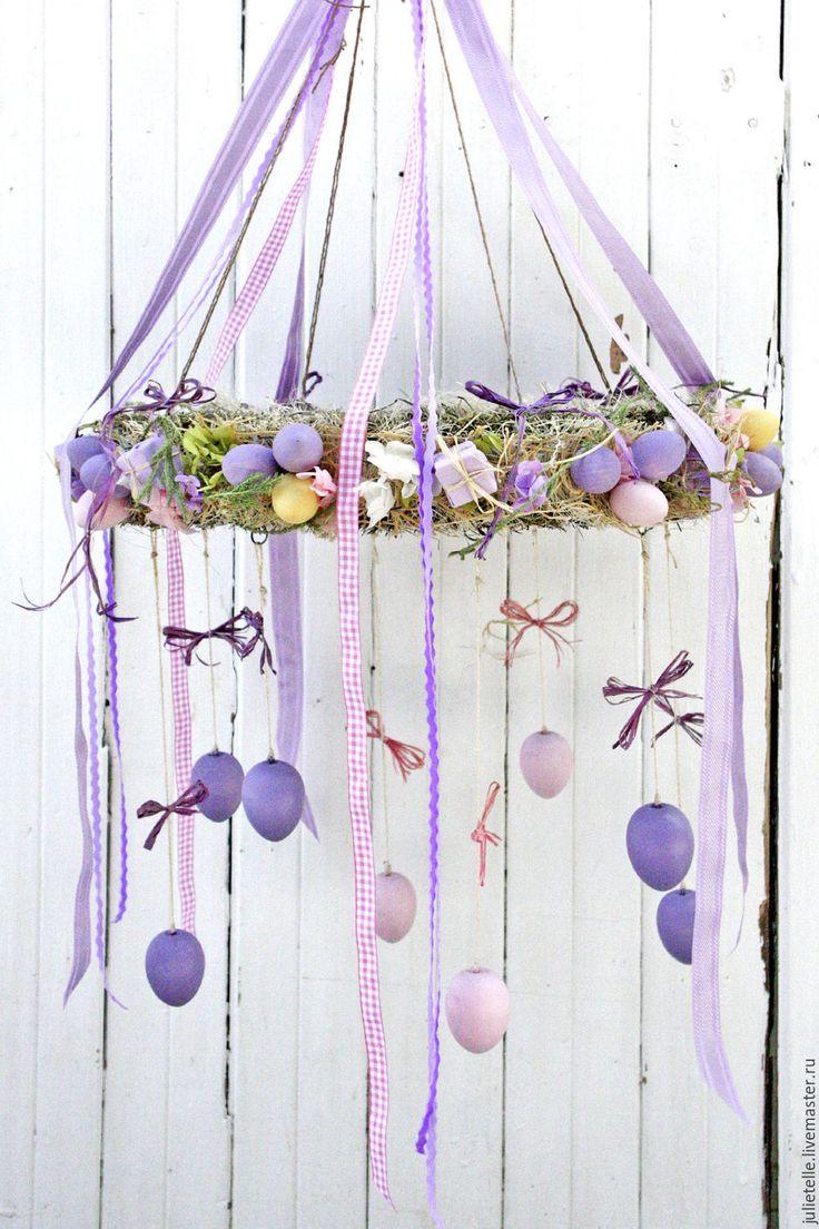 Купить Пасхальная подвеска - сиреневый, Пасха, венок, пасхальный декор, пасхальное украшение, подарок