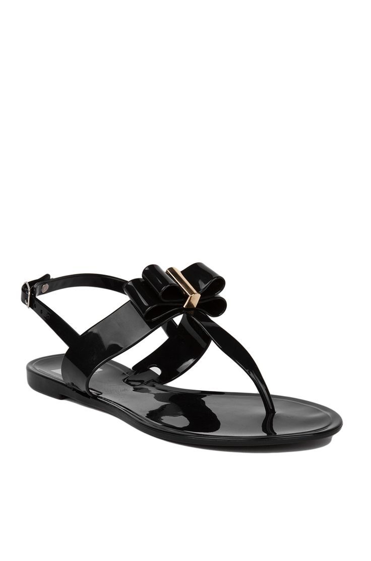Black jelly sandals with bow - Cr By Cape Robbin Black Jelly T Strap Bow Front Flat Sandals Womens Shoes