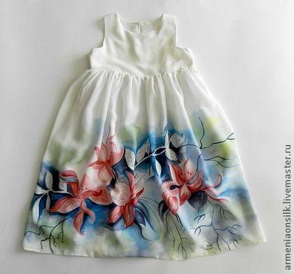 """Одежда для девочек, ручной работы. Ярмарка Мастеров - ручная работа Шелковое платье """"Водяные лилии"""".... Handmade."""