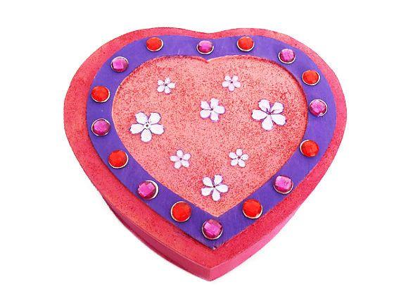 Trinket box, Pink and Purple, Heart Shaped, Jewelry box, Treasure box, jewelry holder