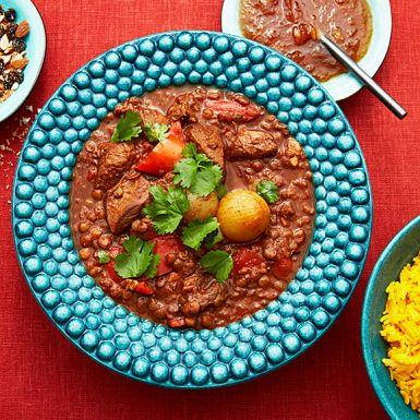 Recept: Nordafrikansk lammgryta med saffransris och nöthack