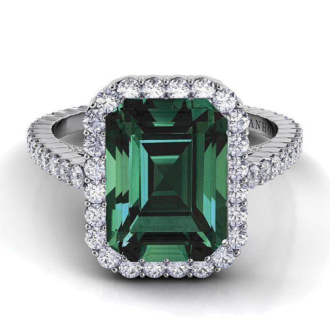 "Brides.com: Engagement Rings with Colored Stones. Style XE101-EM-EM, ""Carezza"" single shank engagement ring with emerald center stone, $3,320, Danhov Center stone not included in price.  See more Danhov engagement rings."