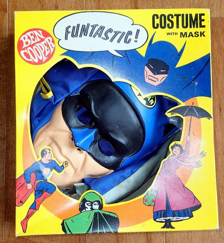Vintage 1966 Batman Halloween Costume Mask Ben Cooper Super Hero Large 12 14 | eBay