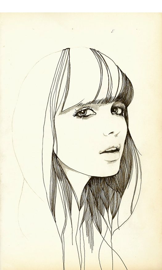 Line Drawing Girl Face : Best ideas about face illustration on pinterest