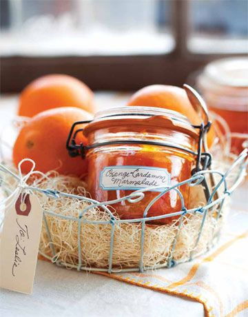Orange-Cardamom Marmalade.  This preserved marmalade can be spooned over buttered toast, spread on a brioche roll or croissant, or dolloped on a toasted English muffin spread with fresh goat cheese. Plus, sealed, it will keep for up to one year