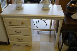 White Desk Wood White 3 Drawers Used Bedroom Furniture