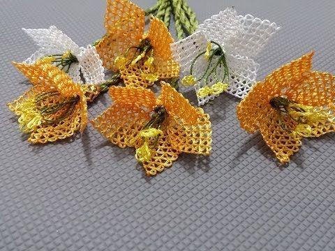 İğne oyaları tesbih başlığı çiçek yapımı - YouTube
