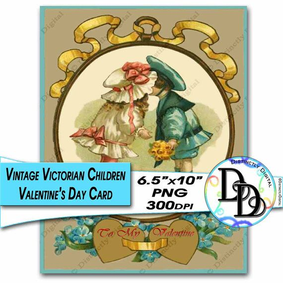 Victorian Kissing Children Valentine's Day Card Printable Digital Clipart Commercial Use Graphic Clip Art Instant Download File by DistinctlyDigital