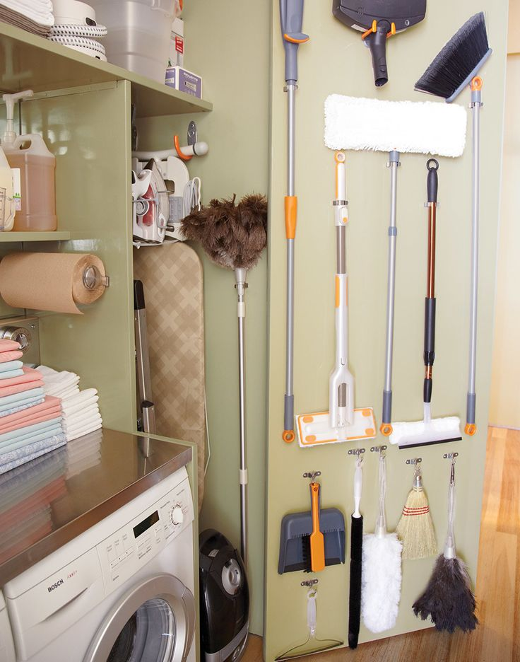 Extendable cleaning tools help you tackle hard-to-reach spots and are also easy to store. Kevin Sharkey's fit on his closet's nine-foot doors when not in use and expand to reach his 12-foot ceilings.Inside the closet: Extension ostrich feather duster, containerstore.com. On door, top row from left: Microfiber string wring mop, casabella.com. Lightweight mop, bissell.com. Swivel-It microfiber floor cleaner, microfiber extendable window washer, and Swivel-It broom, casabella.com.