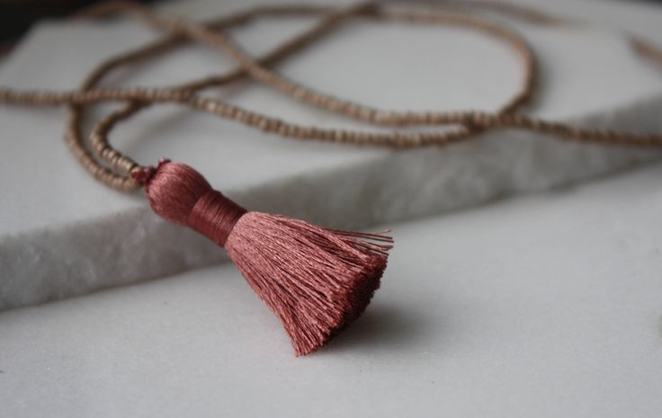 Beige Tassel Necklace, Tassel Necklace, Beaded Necklace, Beaded Tassel Necklace, Seed Bead Necklace, Glass Bead Necklace, by MoydesignStudio on Etsy