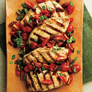 Fabulously simple Pan-Seared Chicken with Tomato-Olive Relish Recipe. What would you serve this with?!