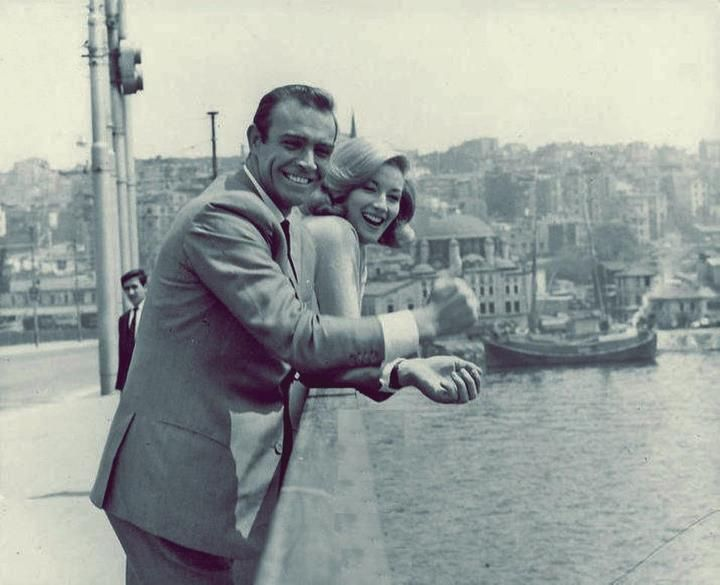 "Sean Connery and Daniela Bianchi in Istanbul, on location for ""From Russia with Love"""