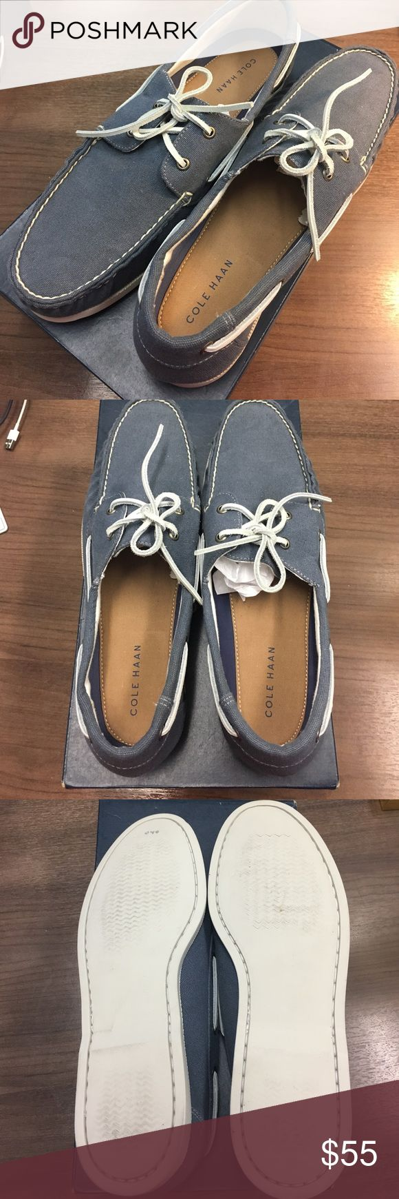 Cole Haan Men's Boat Shoe Casual boat shoe, denim blue canvas material... never been worn! Perfect for summer with shorts and a tee Cole Haan Shoes Loafers & Slip-Ons