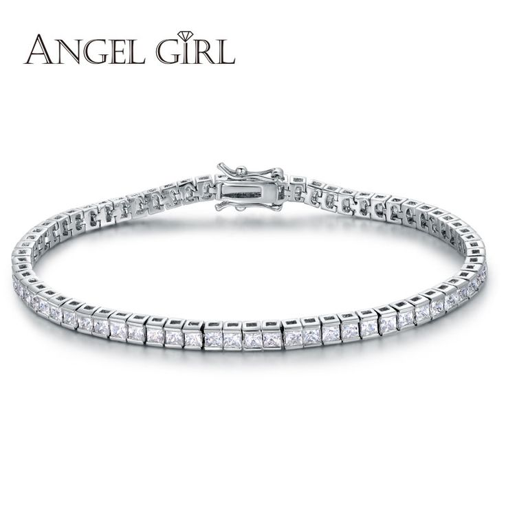 Angel Girl AAA+  Elegant Square 4mm CZ Diamond Tennis Bracelets for Woman White Gold Plated Princess Cut CZ Wedding Jewelry