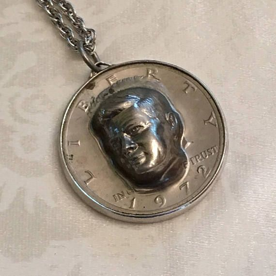 1972 Kennedy Half Dollar Coin Pop Out 3D Pendant Necklace