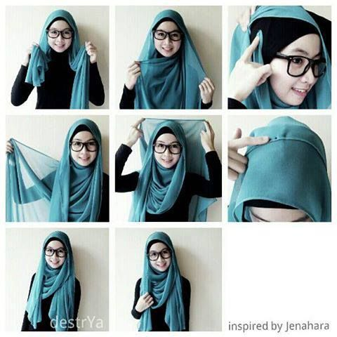 lovely hijab style to go with glasses <3