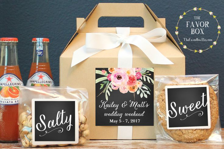 Set of 6-Out of Town Guest Box / Wedding Welcome Box / Wedding Welcome Bag / Out of Town Guest Bag / Wedding Favor / Floral Bouquet Label by thefavorbox on Etsy https://www.etsy.com/listing/249442296/set-of-6-out-of-town-guest-box-wedding
