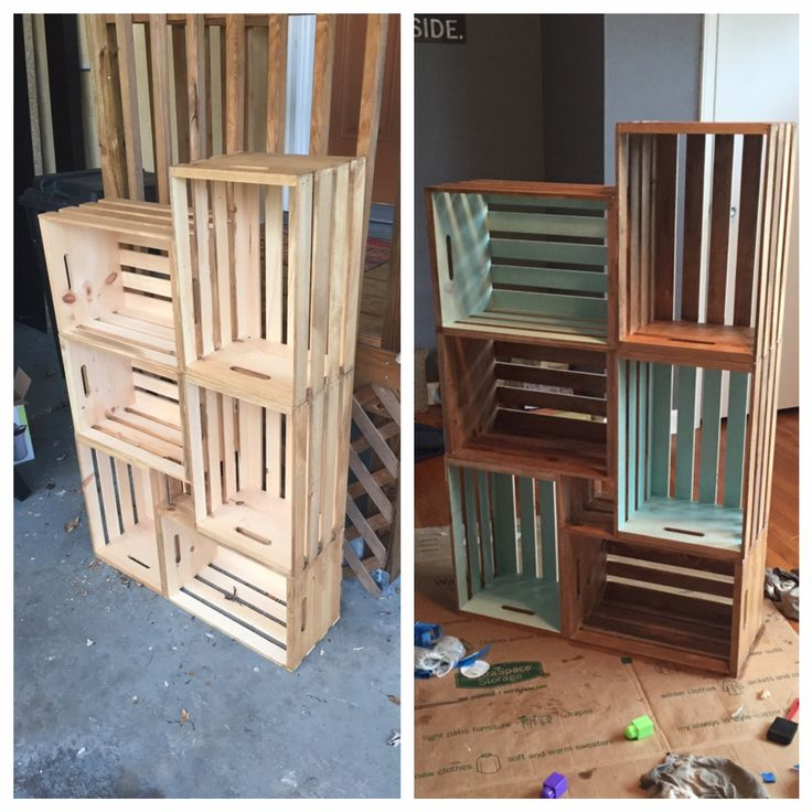 6 wooden crates from Walmart, stain, and chalk paint