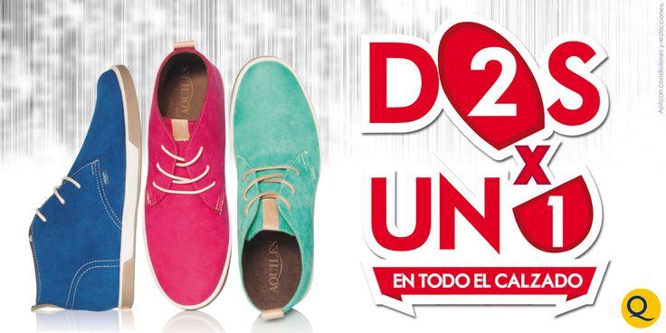 Encuentra nuestro #2x1 en todas nuestras tiendas de linea @CalzadoAquiles.