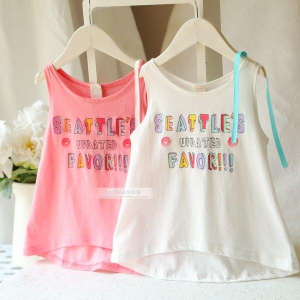 2015年春夏新款女童童裝 韓國同步彩色字母無袖背心T恤上衣裙衣