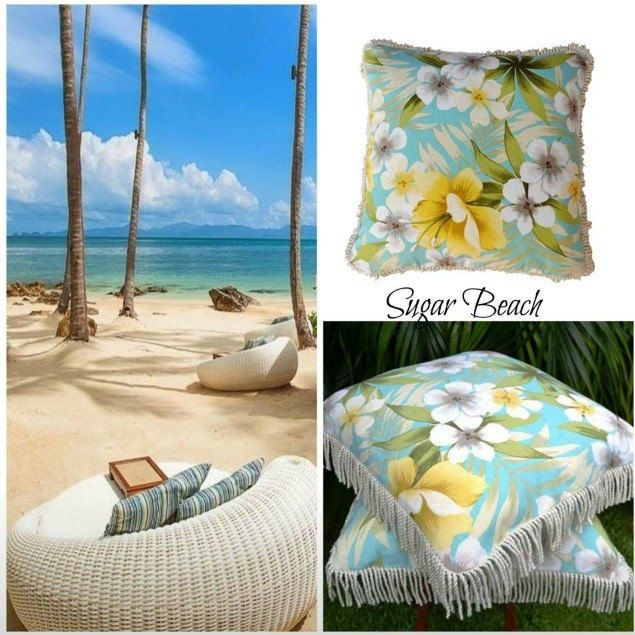Sugar Beach - is a gorgeous tropical design , perfect for your space , cushion cover in soft muted colours . 100% cotton with cotton fringing ...  back is 100% cotton canvas in natural - custom made welcome .. Handmade exclusive item now available .