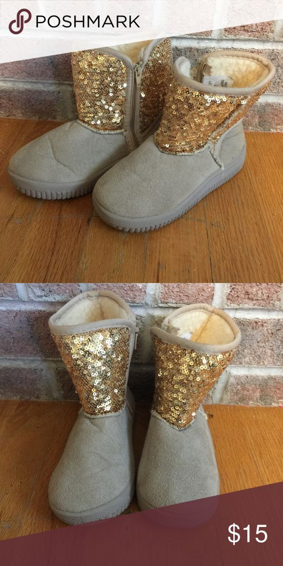 Girls Size 12 gold sequined soft fuzzy boots Please feel free to ask any questions or make an offer, and as always THANK YOU for shopping my posh closet! Xoxo -Tish Shoes Rain & Snow Boots