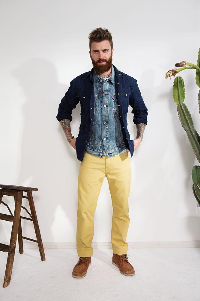 #jeanspl #levis #denim #yellow #jeans #trucker