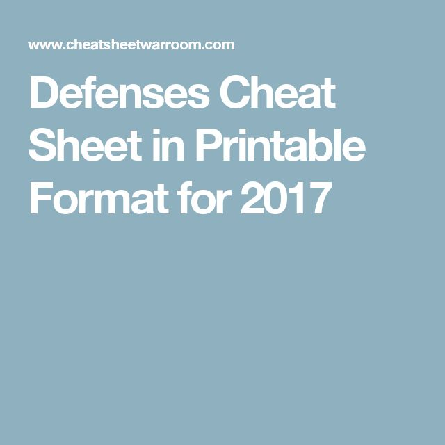 Defenses Cheat Sheet in Printable Format for 2017
